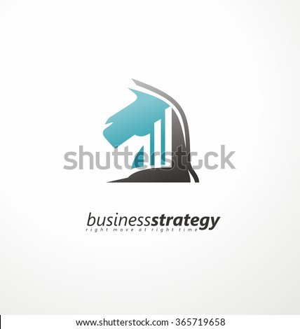 Business strategy logo design concept. Knight symbol with chart bars in negative space.  Right move at right time logo idea. Strategic planing logo template. Modern design theme for web banners. - stock vector