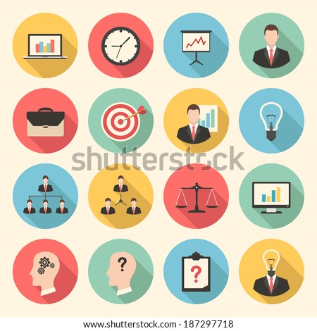 business strategy management and marketing web colorful flat design icons set. template elements for web and mobile applications - stock vector
