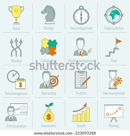 Business strategy planning icon flat line with award time management target audience isolated vector illustration - stock vector