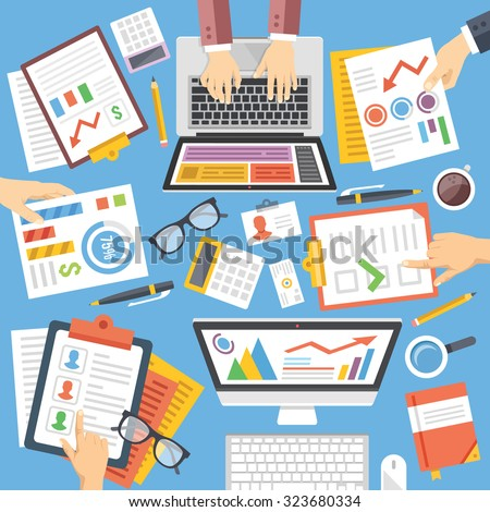 Business, strategy, planning, teamwork, analysis, consulting flat design illustration set. Modern concepts for web banners, web sites, printed materials, infographics. Creative vector illustration - stock vector