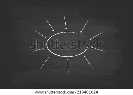Business Strategy Sketch Flow Chart Circles Hand Drawn On Blackboard - stock vector