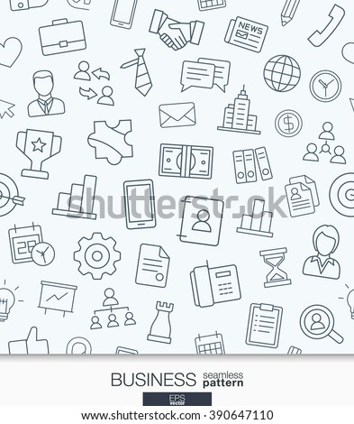 Business strategy wallpaper. Black and white marketing seamless pattern. Tiling textures with thin line web icons set. Vector illustration. Abstract background for mobile app, website, presentation. - stock vector