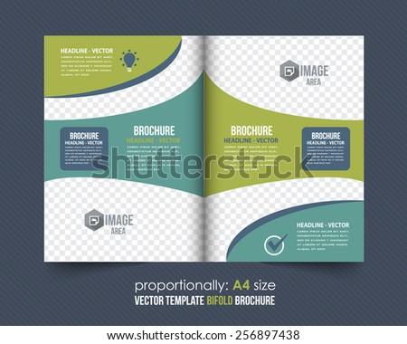 Business Style Bi-Fold Brochure Design. Corporate Leaflet, Cover Template - stock vector