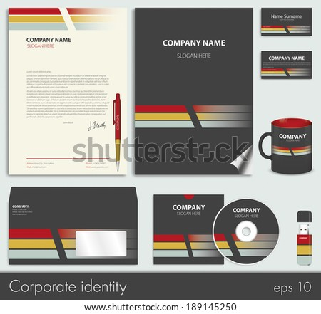 Business style (corporate identity) template 7: blank, card, pen, cd, note-paper, envelope, flash memory - stock vector