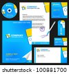 Business style (corporate identity) template 6 (blue):  blank, card, pen, cd, note-paper, envelope - stock vector