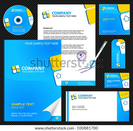 Business style (corporate identity) template 6 (blue):  blank, card, pen, cd, note-paper, envelope