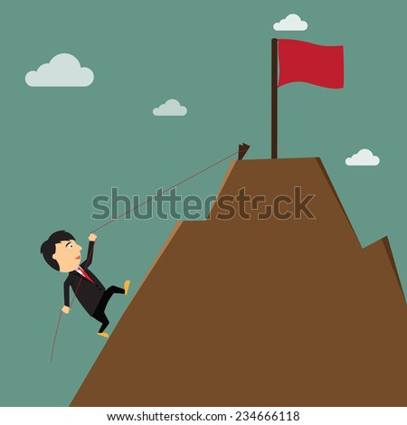 business success achievement concept. hard work, cartoon businessman climbing to the goal on the mountain. Vector illustration - stock vector