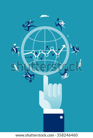 Business success at your fingertips. Business concept illustration. - stock vector
