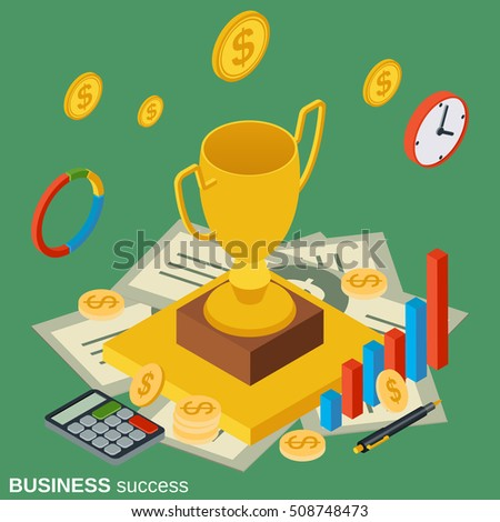Business success, award flat isometric vector concept illustration
