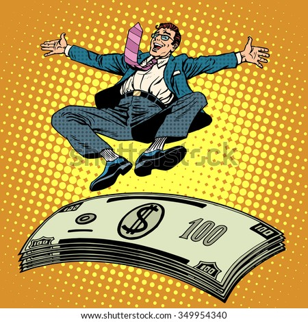 Business success businessman money trampoline pop art retro style. Financial wealth income of a millionaire. Cash prize. Stack of dollars - stock vector