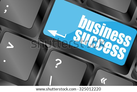business success button on computer keyboard key, vector illustration - stock vector