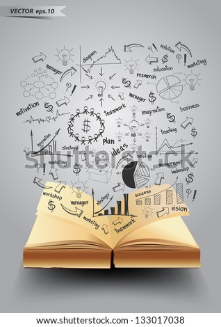 Business success concept idea drawing on book, Vector illustration Modern template Design - stock vector