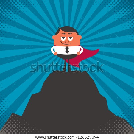 Business Success: Conceptual illustration for business success, depicting character on top of mountain. - stock vector