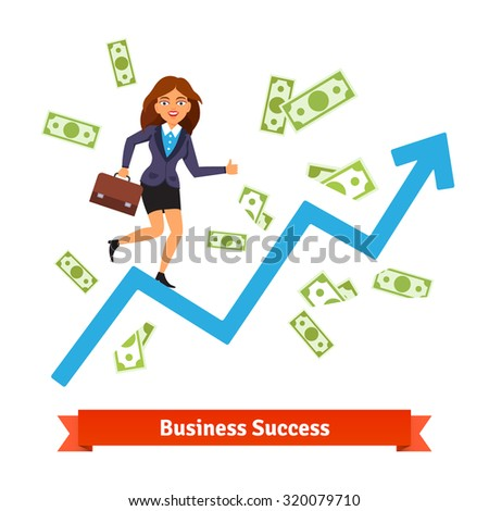Business success & growth concept. Woman in suit running and rising on a growing chart curve arrow surrounded by flying dollar banknotes. Flat style vector illustration isolated on white background. - stock vector
