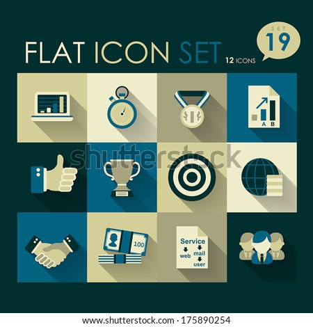 business & success icon set vector flat design - stock vector