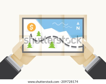 Business success treasure map with dollar in businessman hands. Idea - Way to business success, Business plan, strategy, goals and management concepts. - stock vector