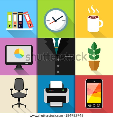 Business suits web design elements with laptop mobile phone printer clock and paper folders vector illustration - stock vector