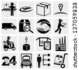 Business, supply chain, shipping, shopping and industry vector icons set. - stock photo