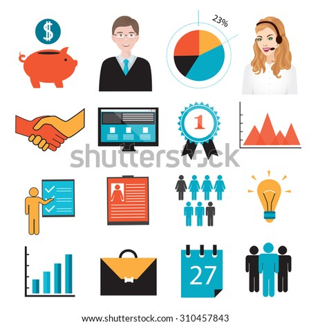 business symbols icons piggy bank resume stock vector 310457843