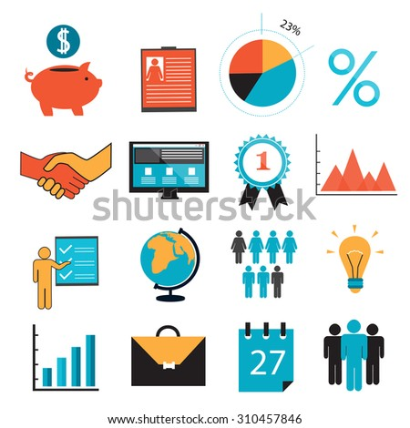 business symbols icons piggy bank resume stock vector 310457846