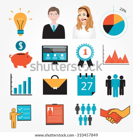 Business Symbols And Icons: Piggy Bank, Resume, Schedule, Interest, Shaking  Hands  Resume Clip Art