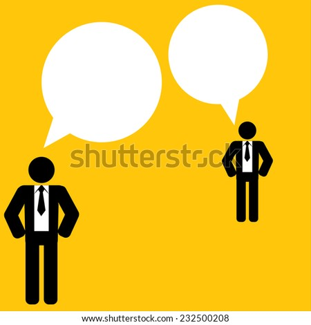 Business talk on yellow background : business concept - stock vector