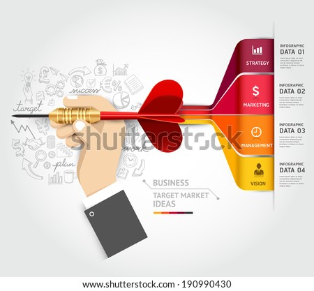 Business target marketing concept. Businessman hand with dart and doodles icons. Can be used for workflow layout, banner, diagram, web design, infographic template. - stock vector
