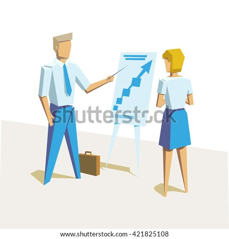 Business teacher giving lecture or presentation to female employee. Standing in front of whiteboard. Modern style vector illustration. Picture from set. Artwork for presentation or infographics. - stock vector