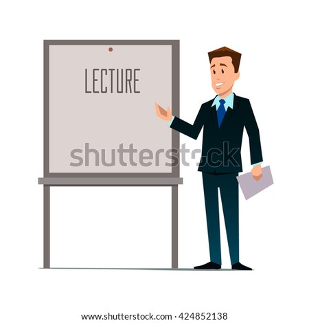 business teacher, man giving a lecture or presentation, front view of whiteboard with documents in hands, modern flat style, cartoon character, vector illustration - stock vector