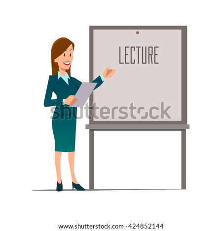 business teacher, woman giving a lecture or presentation, front view of whiteboard with documents in hands, modern flat style, cartoon character, vector illustration - stock vector