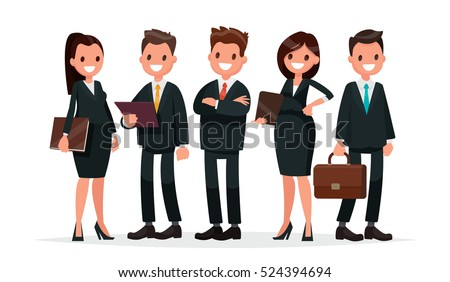 Business team. A group of people dressed in business suits. Vector illustration in a flat style