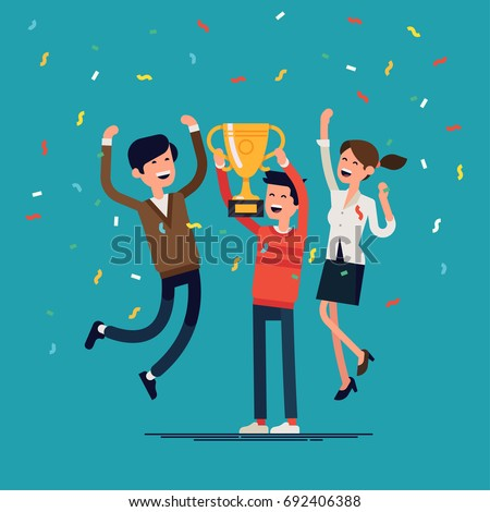 Business team achievements. Cool vector concept on prize winning with casually clothed group of people, golden cup and confetti. Group of people jumping and cheering happily holding trophy