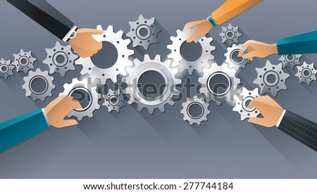 Business team and teamwork concept, business people joining gears together and composing a machine - stock vector