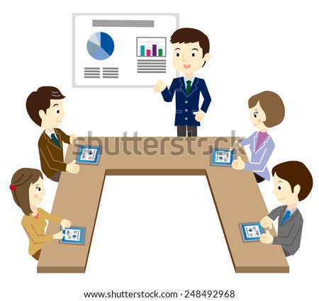Business team at the meeting by using a tablet terminal - stock vector