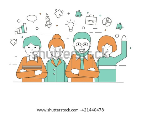 Business team at the office in linear style, vector illustration.  Teamwork concept. Can be used for web banner, site. Businesspeople working together in business team - stock vector
