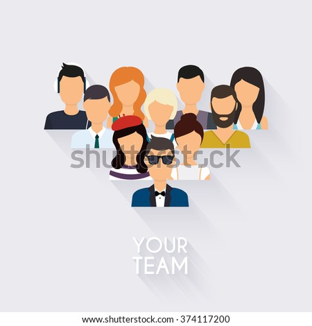 Business Team. Business people and business teamwork. Social Network and Social Media Concept. Business flat vector illustration. - stock vector