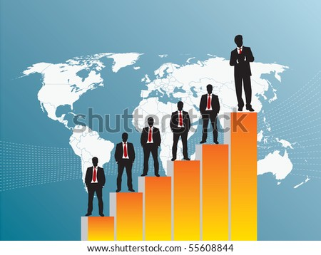 business team chart earning and blue background - stock vector