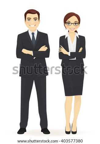 Business team. Cheerfull business man and woman with arms crossed isolated.  - stock vector
