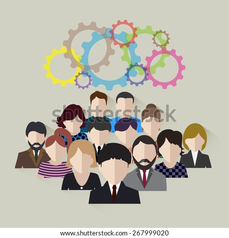 business team concept of development of technological community - stock vector