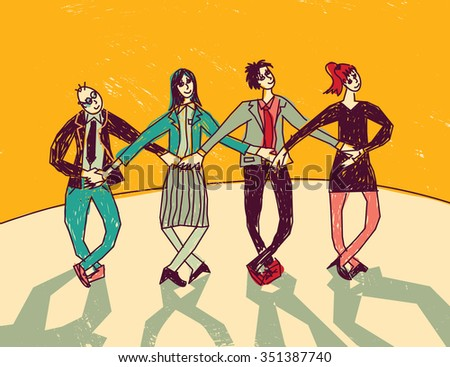 Business team dance presentation color. Group people dance on stage in suits. Color vector illustration. EPS8