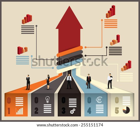 Business team flow chart infographic with various businesspeople and executives combining their skills and expertise on a project leading to an upward pointing arrow, vector illustration with graphs - stock vector
