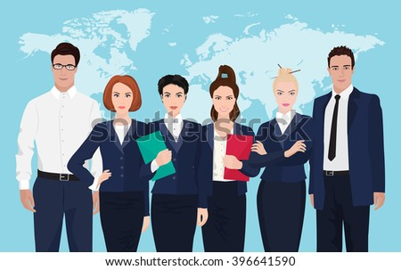 Business team formed of young businessmen standing over on world map background. - stock vector