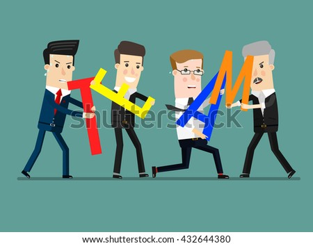 Business team holding a decision letter. Business concept cartoon illustration. - stock vector