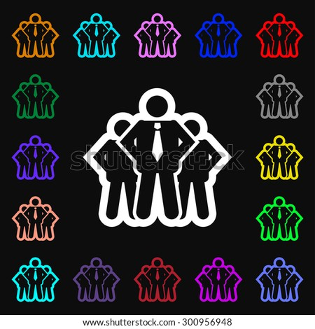 business team icon sign. Lots of colorful symbols for your design. Vector illustration - stock vector