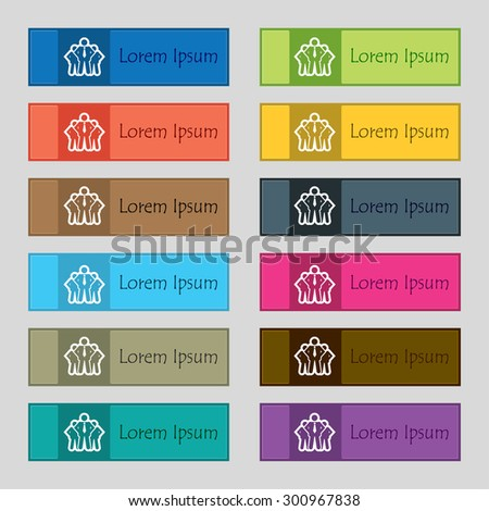 business team icon sign. Set of twelve rectangular, colorful, beautiful, high-quality buttons for the site. Vector illustration - stock vector
