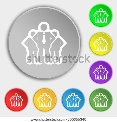business team icon sign. Symbol on eight flat buttons. Vector illustration - stock vector