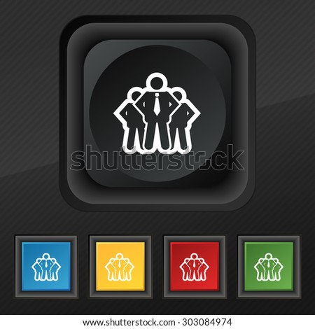 business team icon symbol. Set of five colorful, stylish buttons on black texture for your design. Vector illustration - stock vector