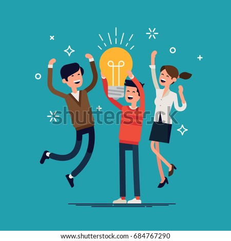 Business team idea. Cool vector illustration on casually clothed group of people celebrating abstract brainstorm result. Small group of people jumping and cheering happily holding idea bulb