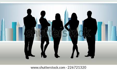 business team in office. In window skyscrapers with sky - stock vector