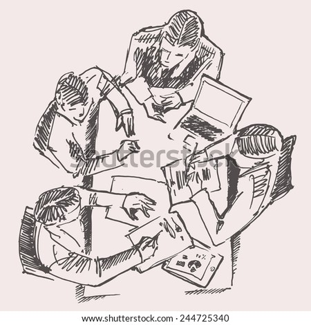Business team meeting concept, top view, people on round table, sketch vector illustration - stock vector
